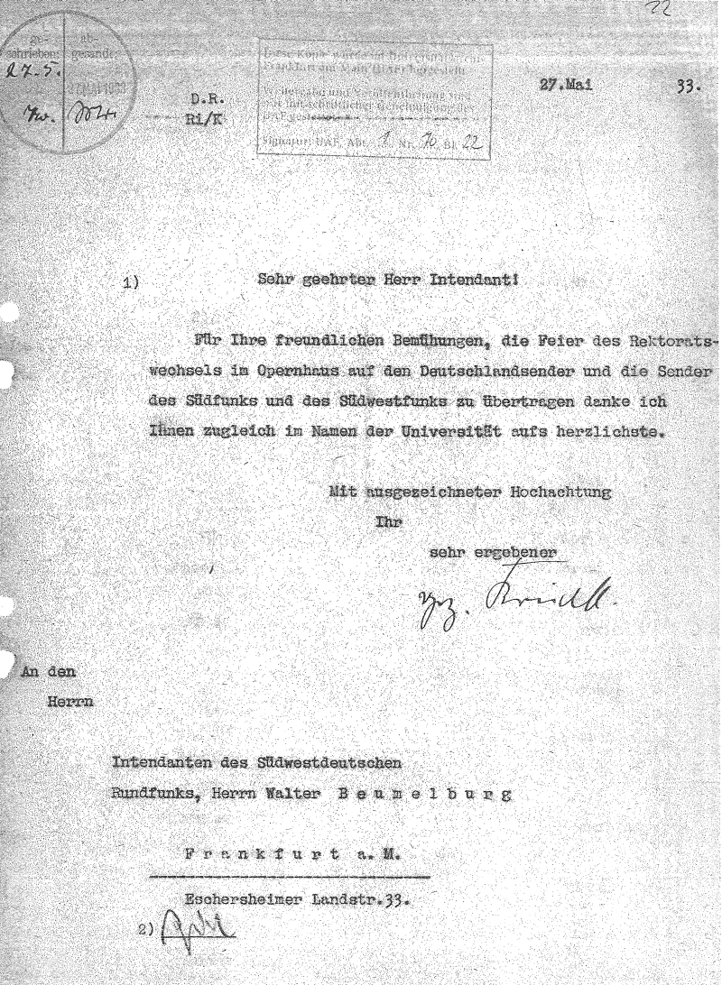 Brief Ernst Kriecks vom 27. Mai 1933 [Quelle: Goethe-Universität Frankfurt am Main, Universitätsarchiv]